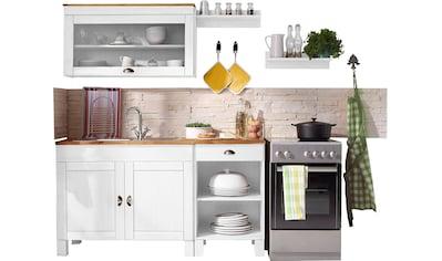 Home affaire Küchen-Set »Oslo«, (5 tlg.), ohne E-Geräte, Breite 150 cm, aus massiver Kiefer, 23 mm starke Arbeitsplatte, mit Metallgriffen, Landhaus-Küche kaufen