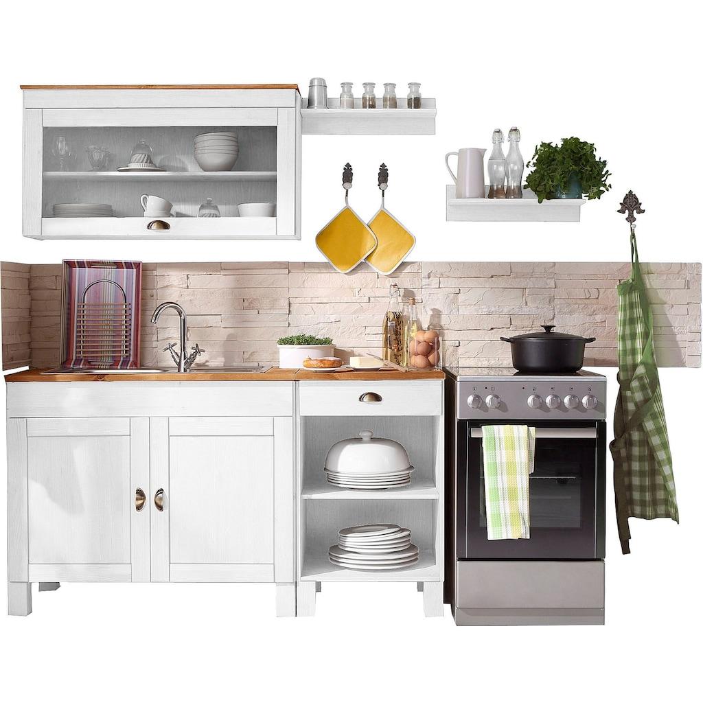 Home affaire Küchen-Set »Oslo«, (5 tlg.), ohne E-Geräte, Breite 150 cm, aus massiver Kiefer, 23 mm starke Arbeitsplatte, mit Metallgriffen, Landhaus-Küche