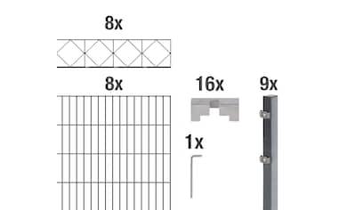 GAH Alberts Doppelstabmattenzaun »Bergen«, anthrazit,120 cm hoch, 8 Matten für 16 m, 9... kaufen