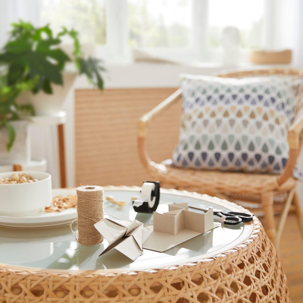 Home affaire Couchtisch »Loreen«, Gestell aus Wiener Geflecht, Tischplatte aus Glas