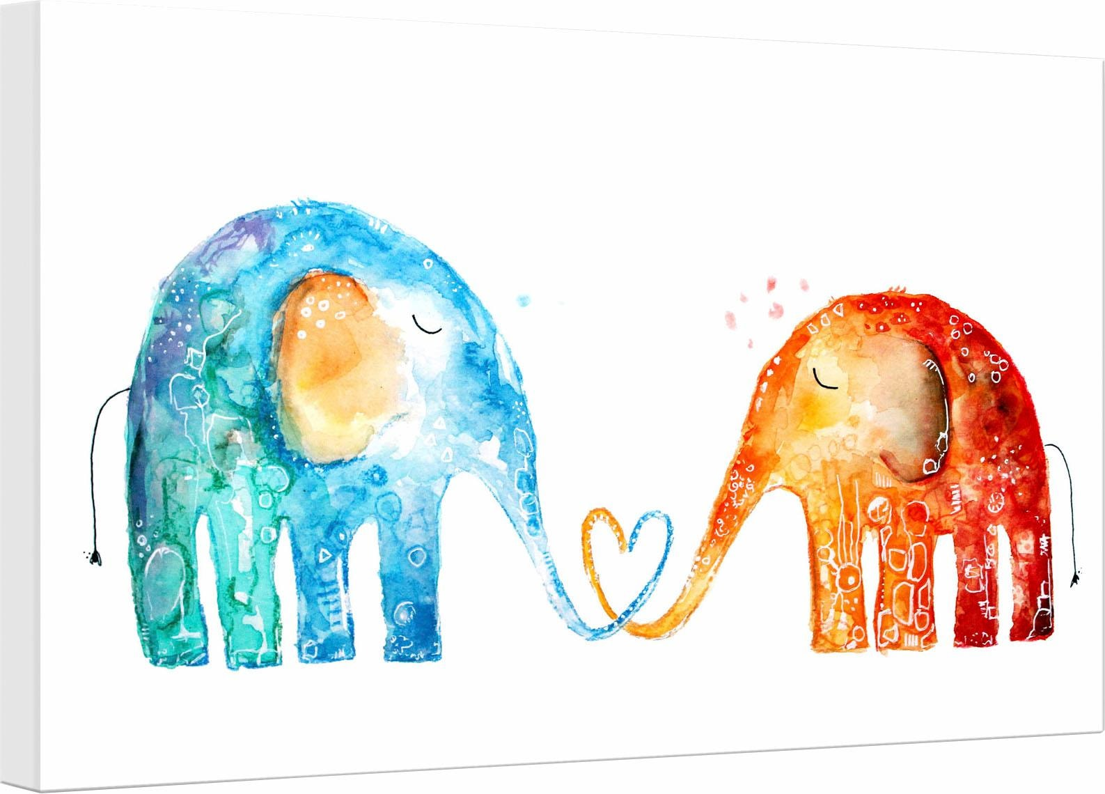 Leinwandbild Hagenmeyer - Elefantenliebe Elefanten Wohnen/Accessoires & Leuchten/Wohnaccessoires/Bilder & Bilderrahmen/Leinwandbilder