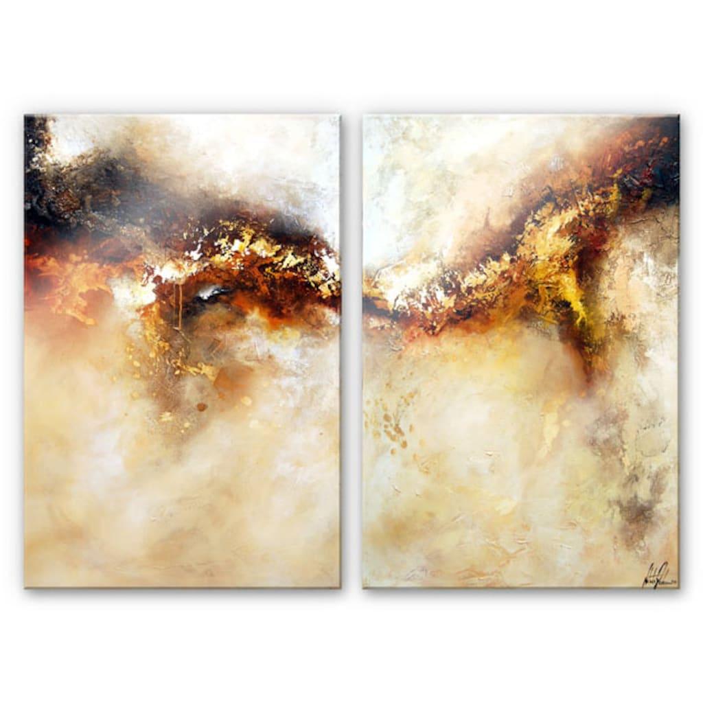 Wall-Art Mehrteilige Bilder »Metalle Gold Abstrakt (2-teilig)«, (Set, 3 St.)