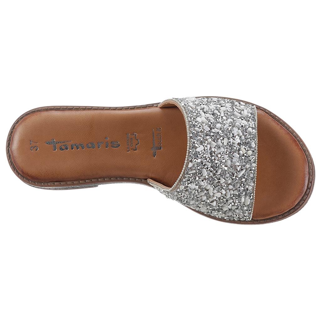 Tamaris Pantolette »TROPICA«, mit reichhaltig verzierter Bandage
