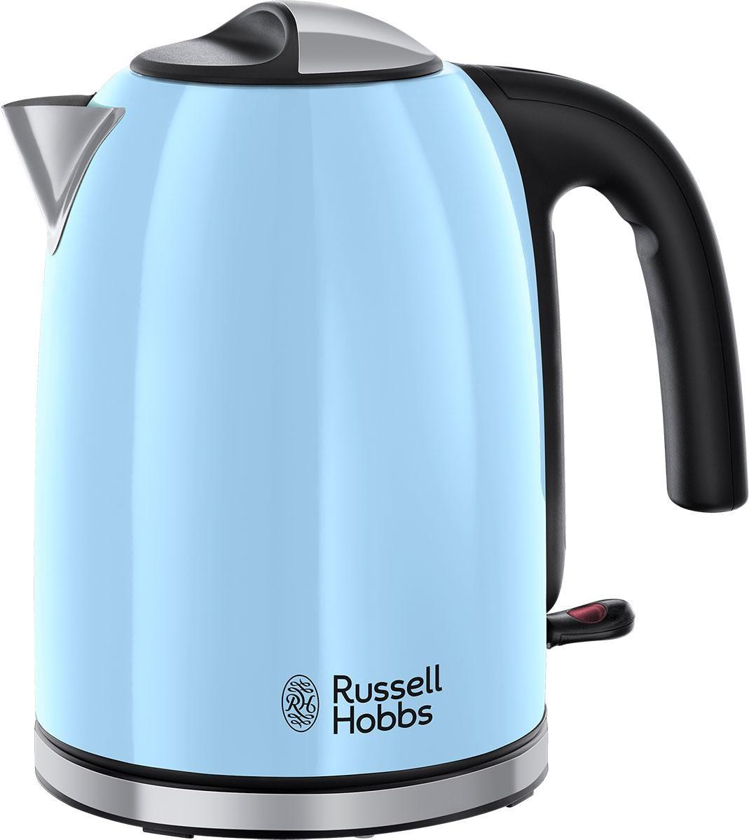 RUSSELL HOBBS Glas Wasserkocher Edelstahl 1,7 Liter 2200W  Blaue LED Beleuchtung