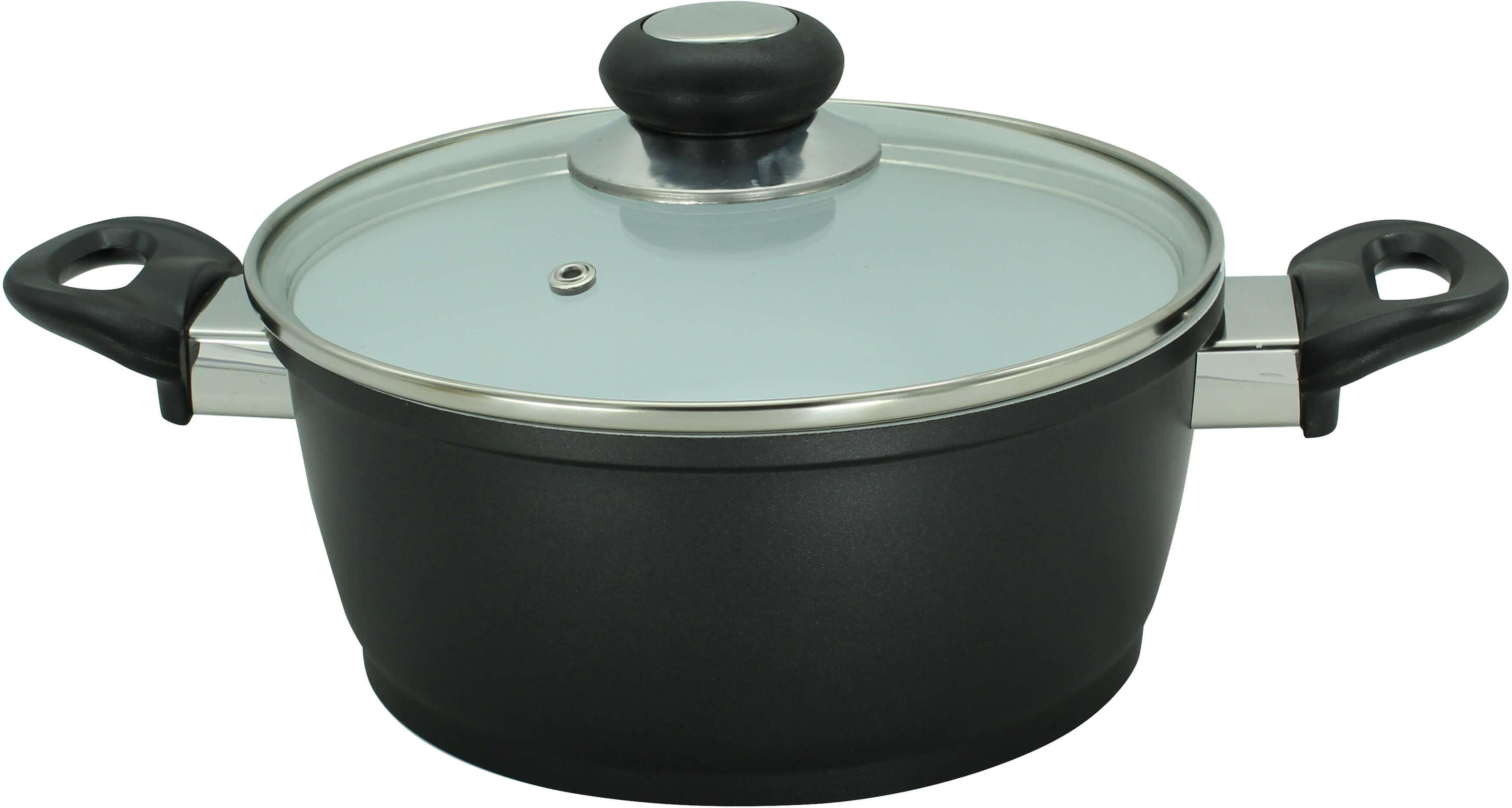 Krüger Fleischtopf Oslo, Aluminiumguss, (1 tlg.), Greblon Creamic Beschichtung schwarz Fleischtöpfe Töpfe Haushaltswaren