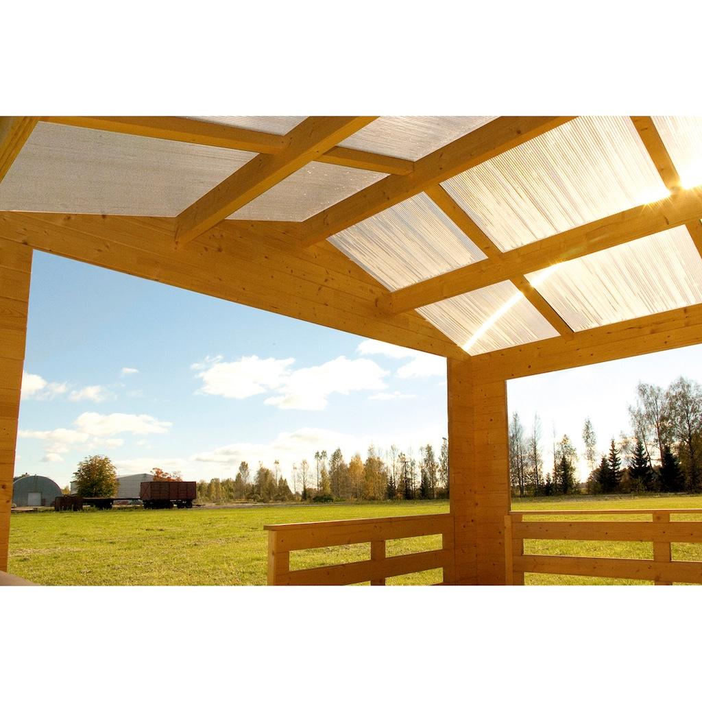 SKANHOLZ Gartenhaus »Holmestrand«, BxT: 420x650 cm, inkl. Vordach mit Brüstung und Fußboden