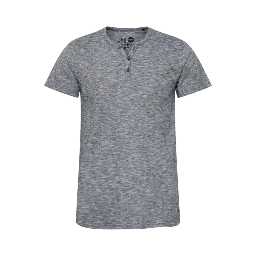 Solid Rundhalsshirt »Sigos«, Kurzarmshirt mit Knopfleiste