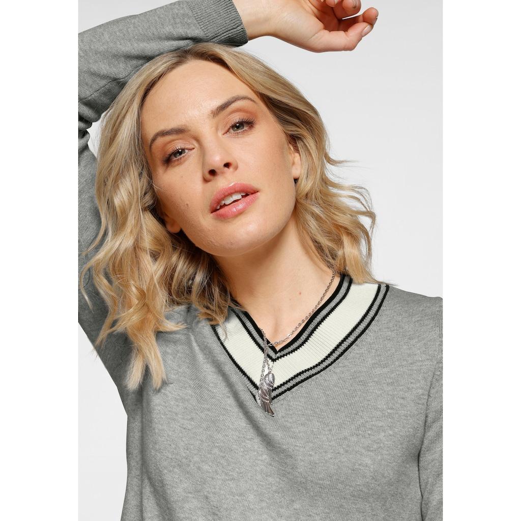 Arizona V-Ausschnitt-Pullover, Mit Kontrast-Besatz