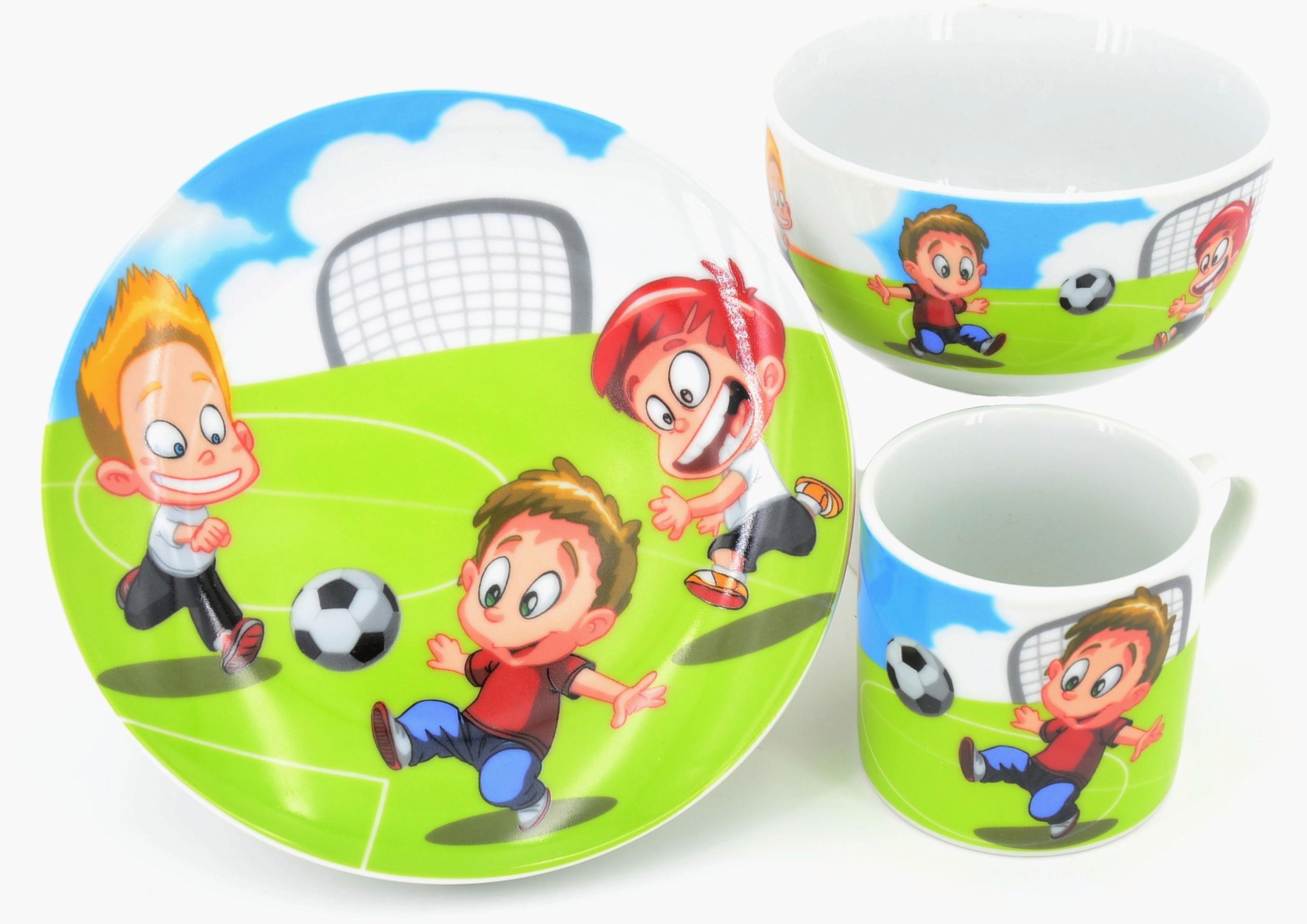 Retsch Arzberg Kindergeschirr-Set Fußball (3-tlg.), Porzellan bunt Kinder Kindergeschirr Geschirr, Tischaccessoires Haushaltswaren Geschirr-Sets