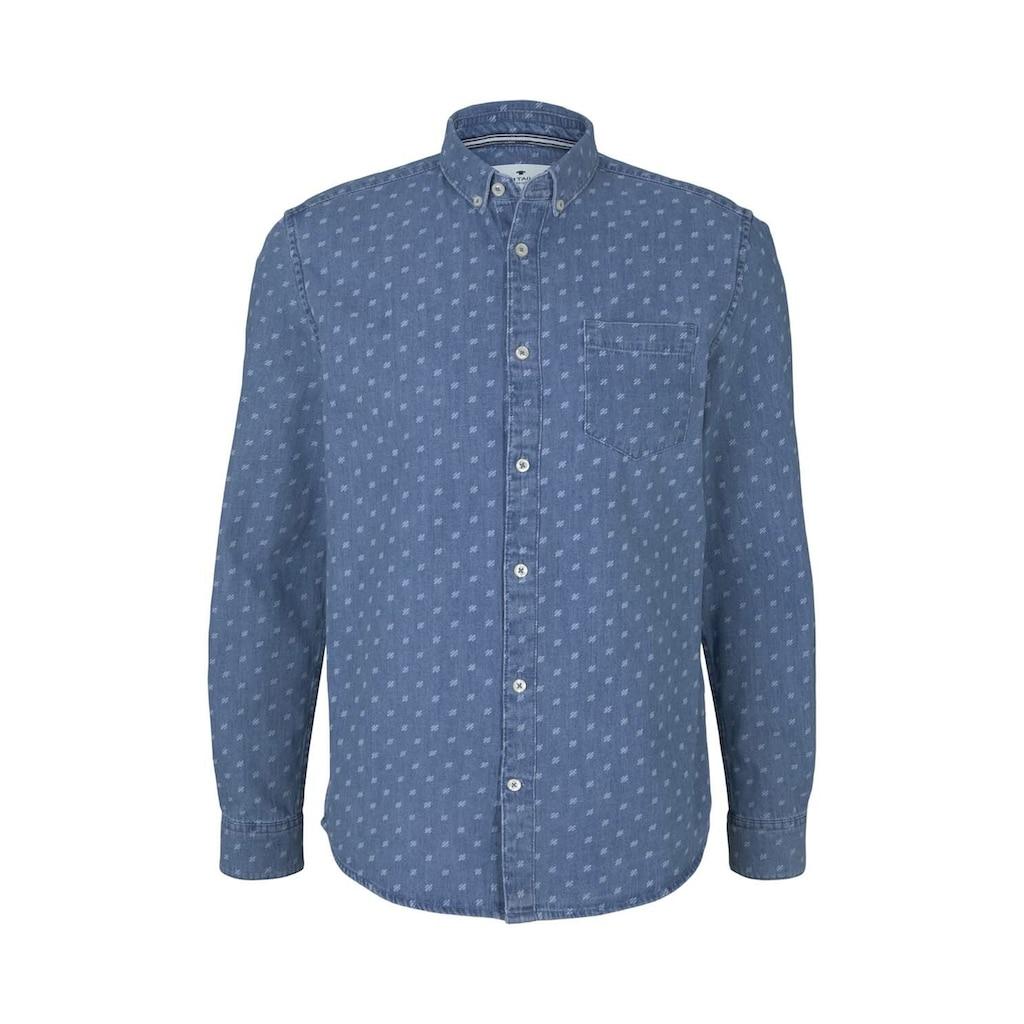 TOM TAILOR Langarmhemd »gemustertes Jeanshemd mit Bio-Baumwolle«