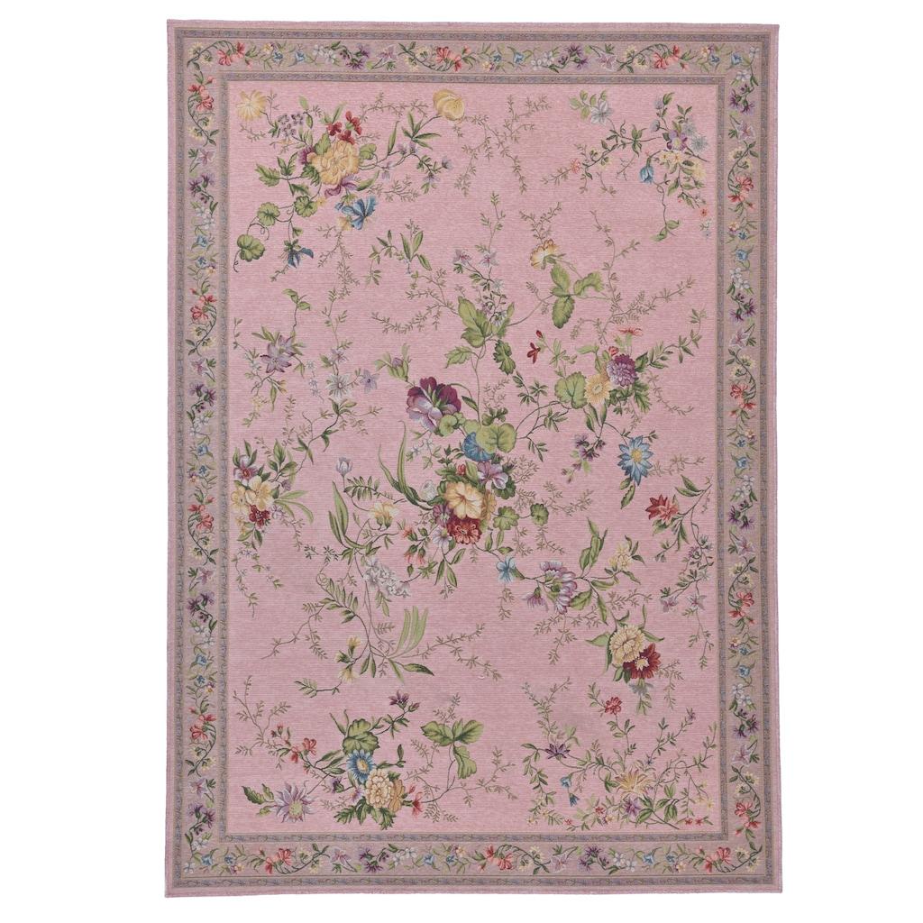 THEKO Teppich »Flomi Sagrini«, rechteckig, 3 mm Höhe, Flachgewebe, Pastell-Farben, Blumen Design, Wohnzimmer