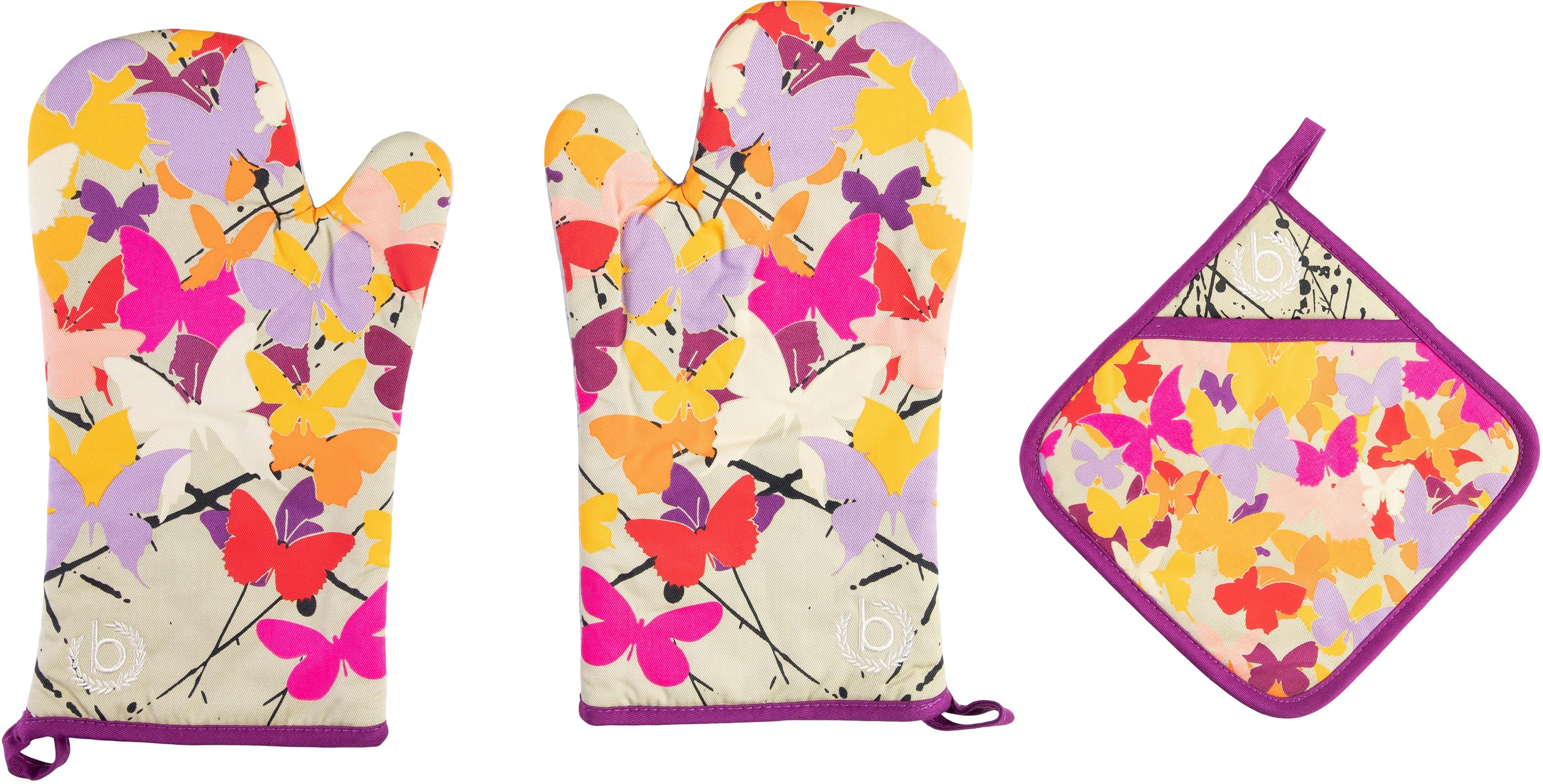 bugatti Topfhandschuhe Butterfly, (Set, 3 tlg., bestehend aus 2x Ofenhandschuh, 1x Topflappen) bunt Topflappen und Topfhandschuh Kochen Backen Haushaltswaren