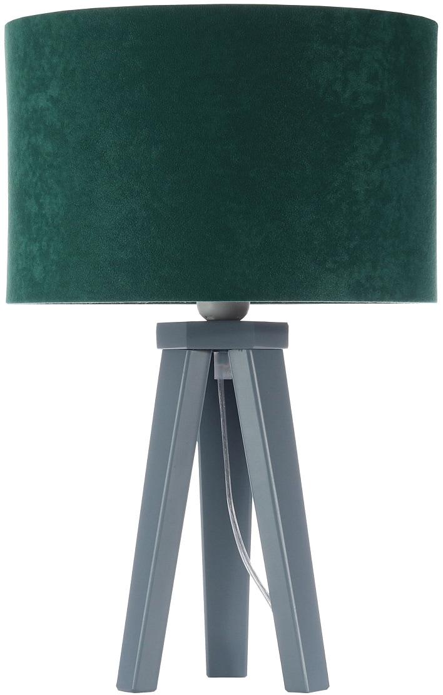 Jens Stolte Leuchten Tischleuchte Karin, E27, 2 St., Textiltischleuchte, 30cm Ø, grün, Stofftischleuchte grün/silber