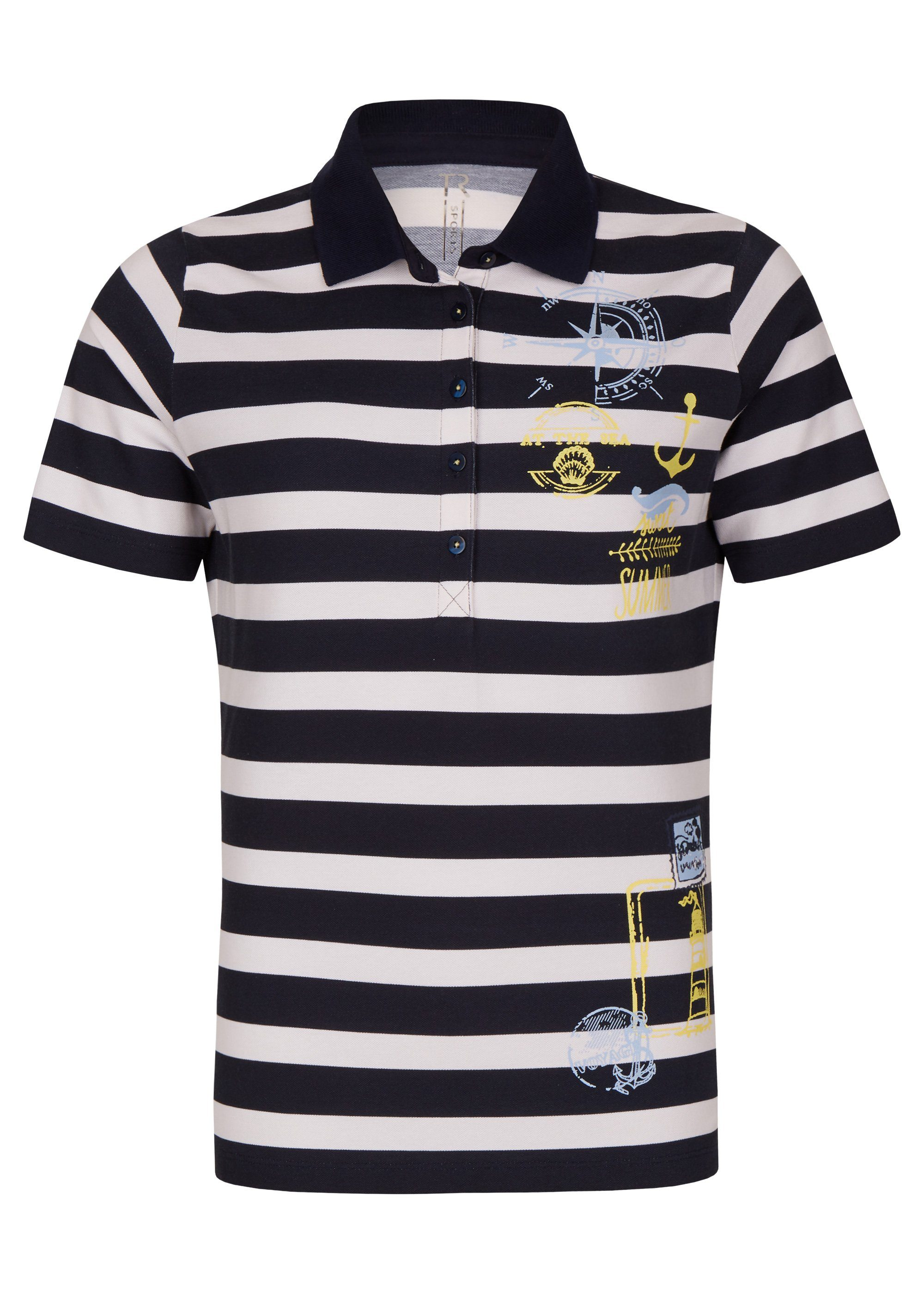 Thomas Rabe Poloshirt mit Ringeln und maritimen Motiven | Bekleidung > Shirts | Blau | Elasthan | Thomas Rabe