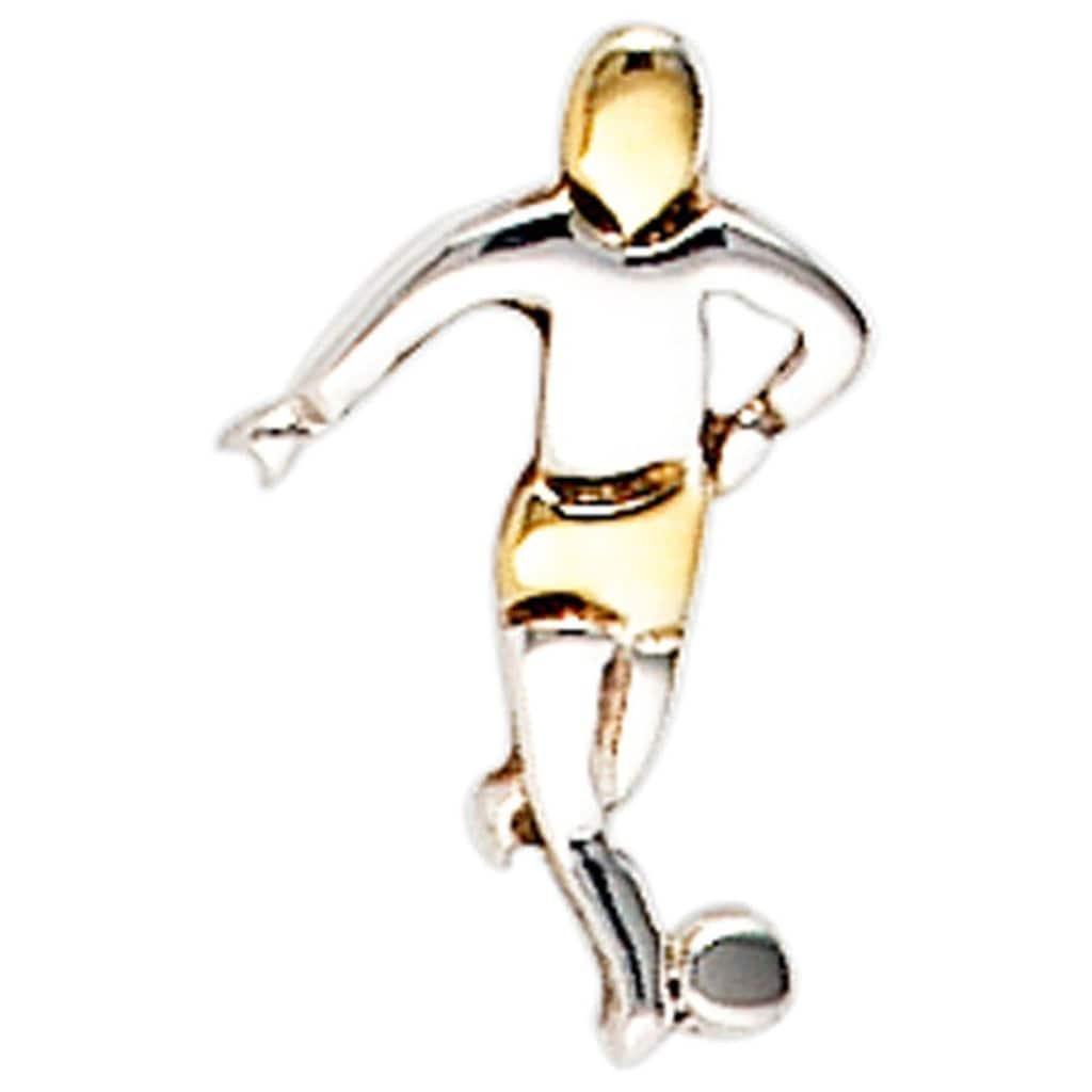 JOBO Single-Ohrstecker »Fußballspieler«, 925 Silber bicolor vergoldet