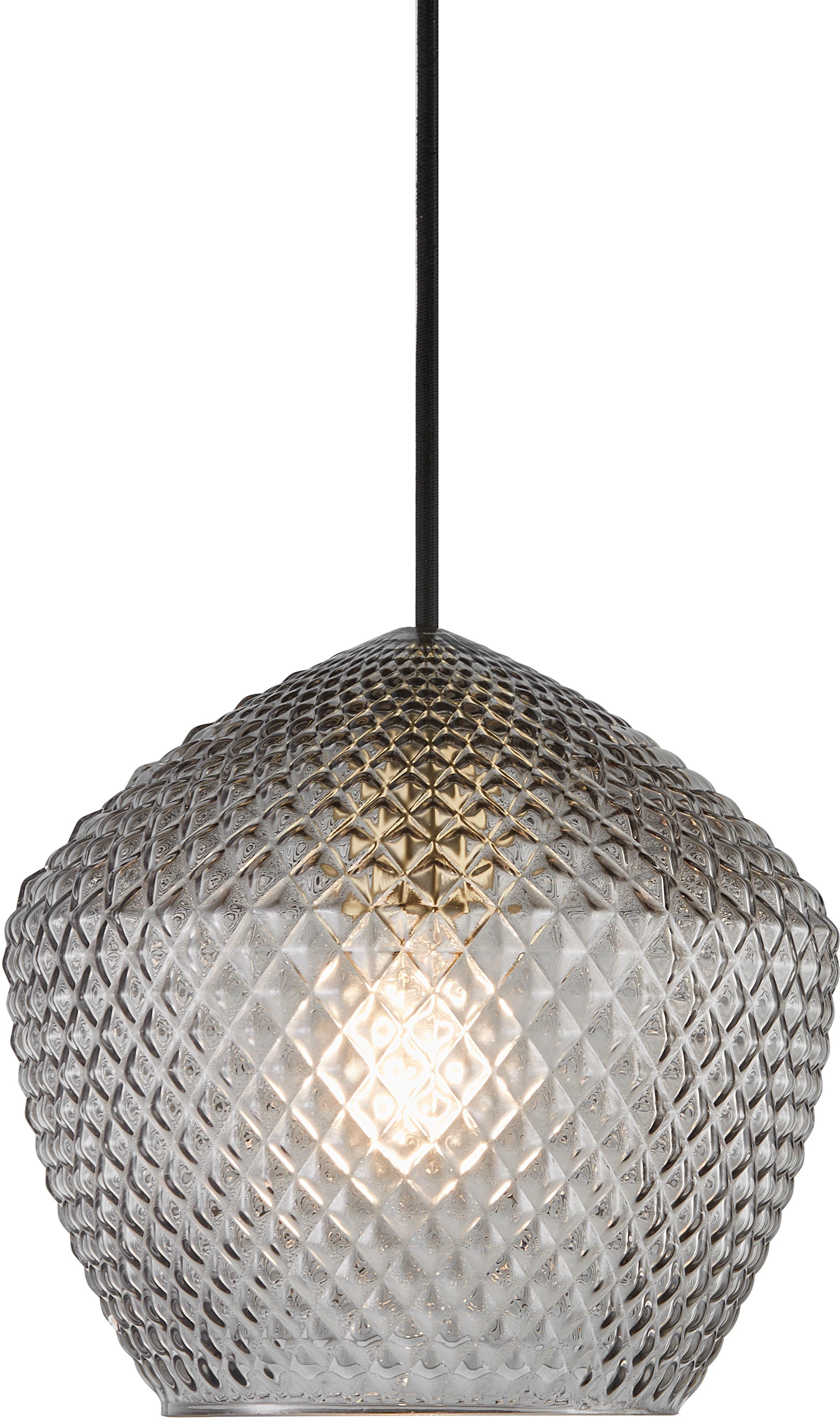 Nordlux Pendelleuchte ORBIFORM, E27, Hängeleuchte, Struktur Glas Schirm, Messing Applikation