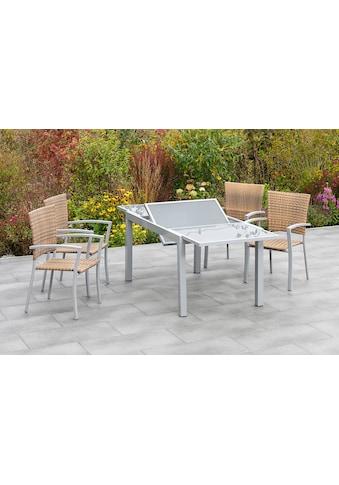 MERXX Gartenmöbelset »Savona«, (7 tlg.), 6 Sessel mit ausziehbarem Tisch kaufen