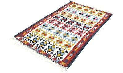 morgenland Wollteppich »Kelim Teppich handgewebt beige«, rechteckig, 5 mm Höhe, Kurzflor kaufen