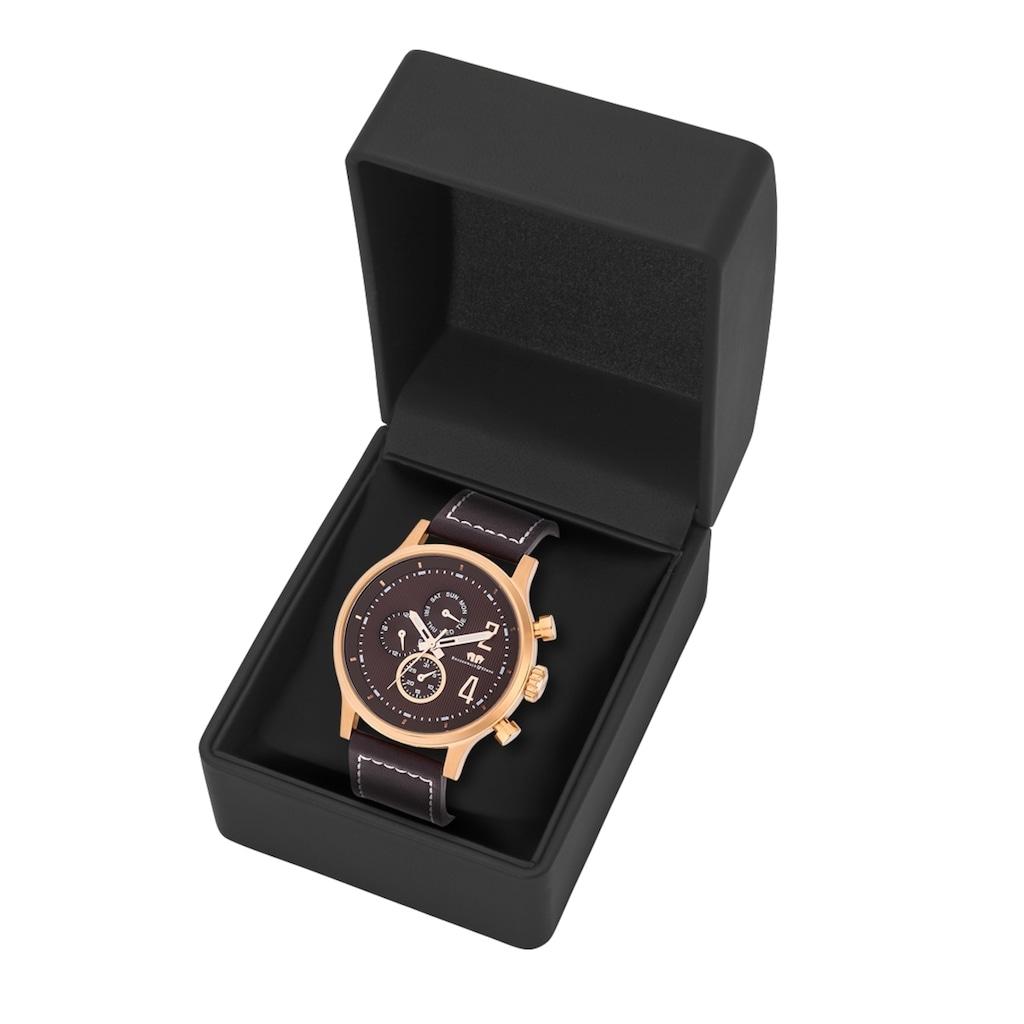 Rhodenwald & Söhne Multifunktionsuhr »RWS015«, (1 tlg.), Armband aus Echtleder