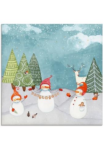 Artland Glasbild »Schneemänner und Tierfreunde« kaufen