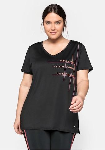 Sheego T-Shirt, mit V-Ausschnitt und sportivem Druck kaufen