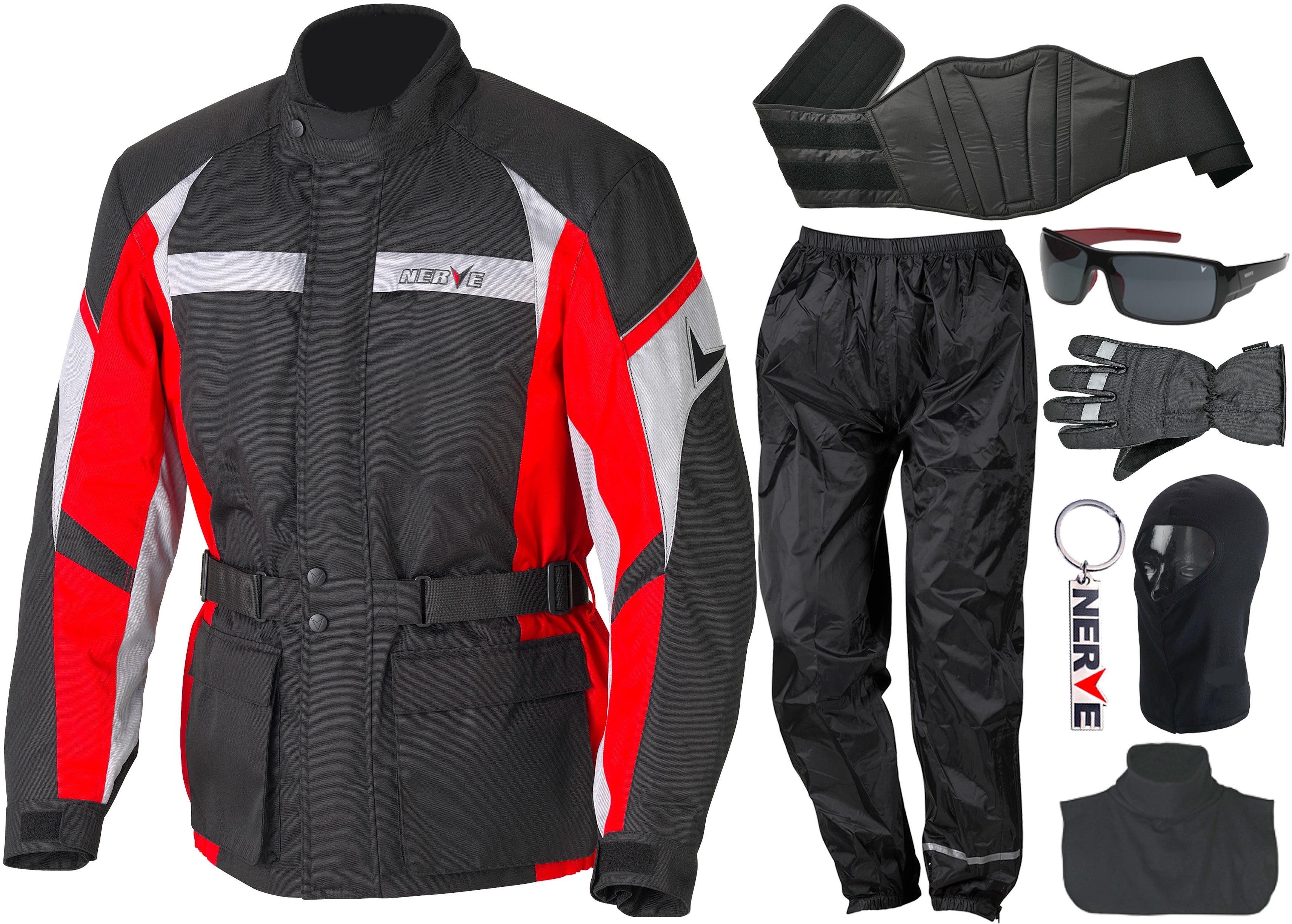 NERVE Motorradkombi, (Set, 8 tlg.) rot Schutzbekleidung Zubehör Motorroller Mofas Motorradkombi