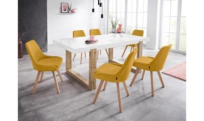 INOSIGN Stuhl »Dilla«, 2er Set, aus schönem Webstoff Bezug und massiven Eichenholzbeinen, Sitzhöhe 48 cm kaufen