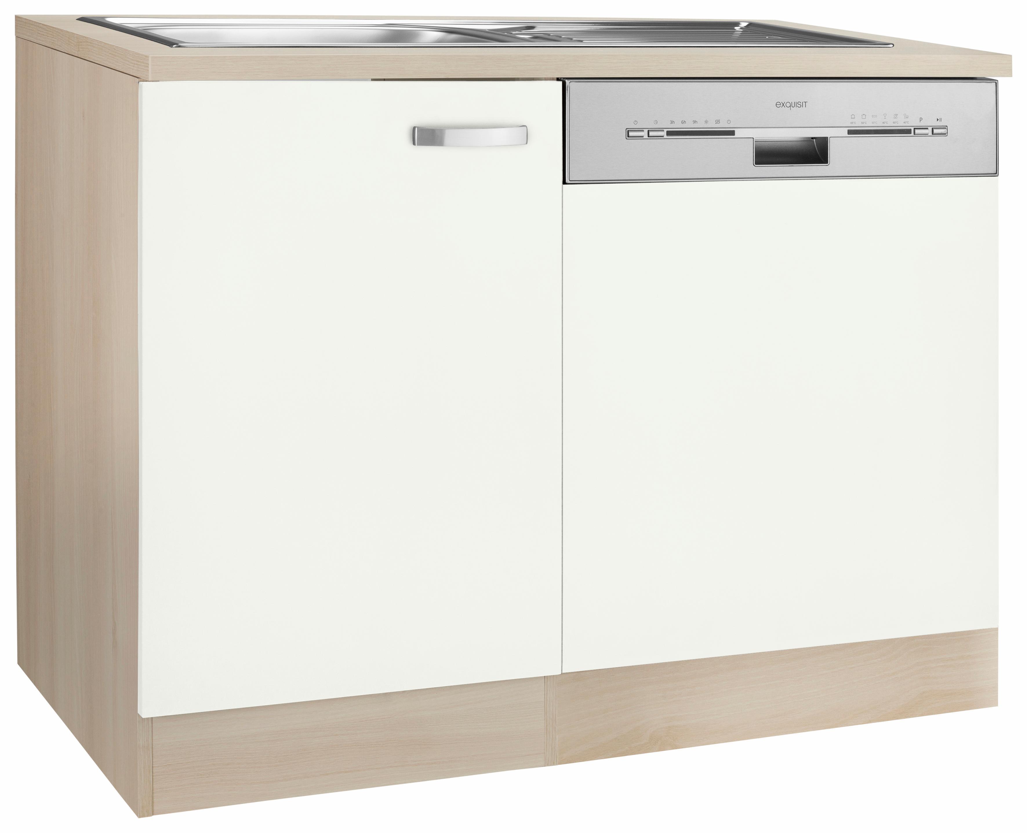Spülenschrank Faro OPTIFIT mit Tür/Sockel für Geschirrspüler | Küche und Esszimmer > Küchenschränke > Spülenschränke | Weiß | Akazie - Edelstahl - Melamin | Optifit