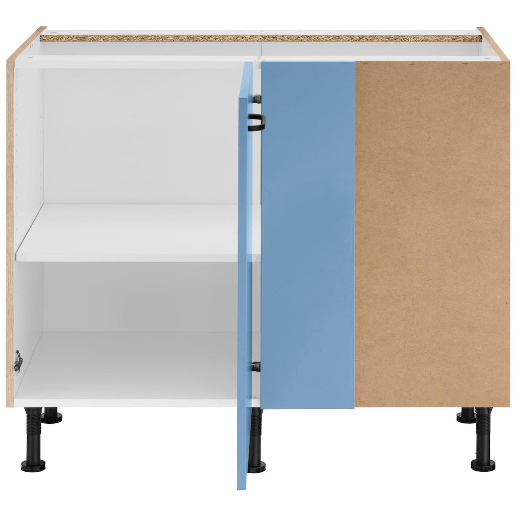 OPTIFIT Eckunterschrank »Elga«, mit Soft-Close-Funktion, höhenverstellbaren Füßen und Metallgriff, Breite 100 cm