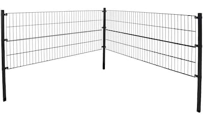 HOME DELUXE Doppelstabmattenzaun, 200 cm hoch, 5 Matten für 2 m Zaun, mit 2 Pfosten kaufen