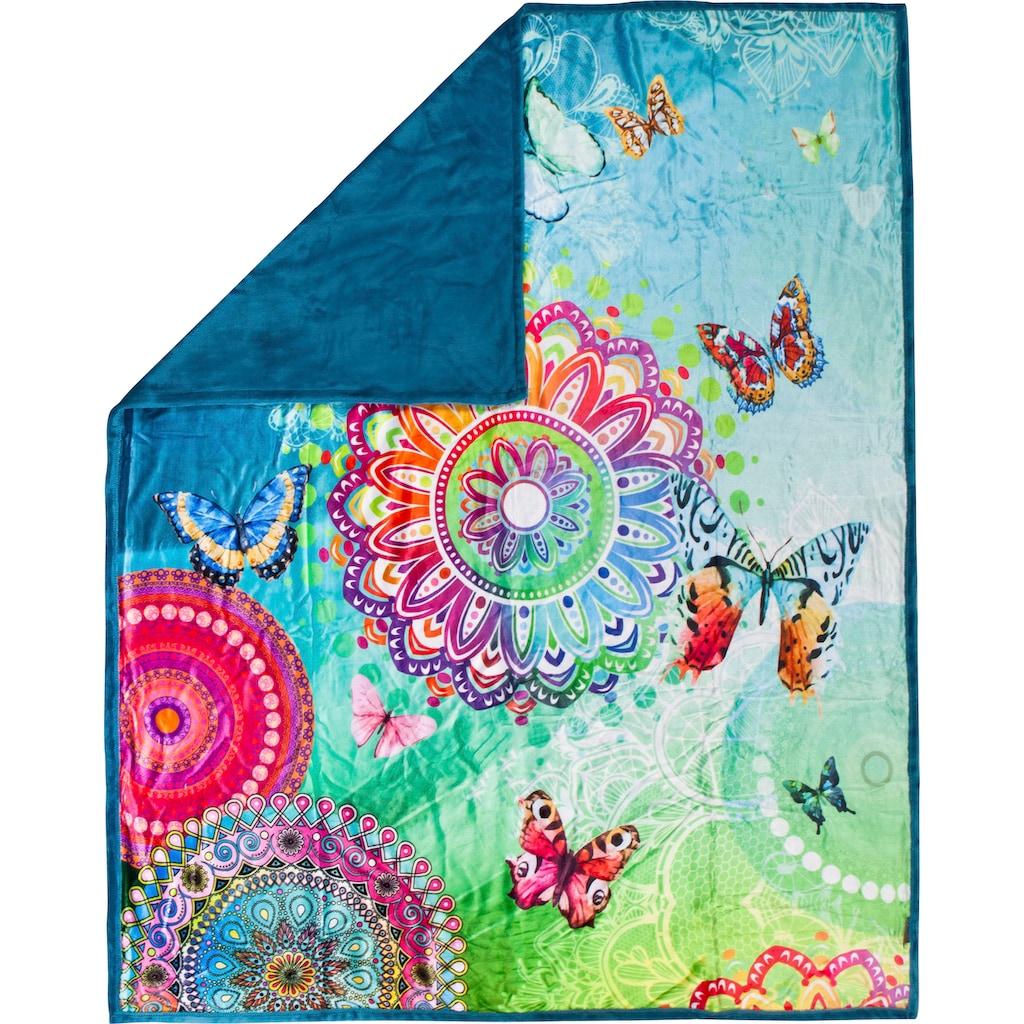 hip Plaid »Mystic«, mit Mandalas und Schmetterlingen