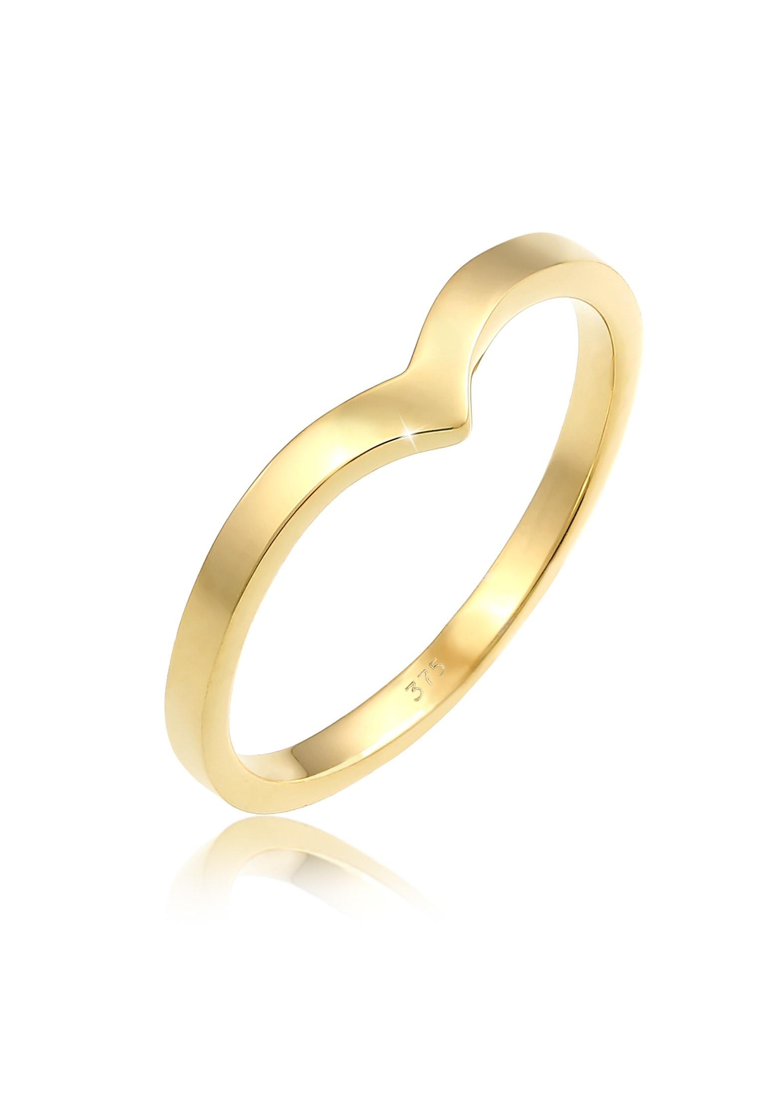 Elli Fingerring V-Form Stapelring Geo Look Modern 375 Gelbgold | Schmuck > Ringe > Fingerringe | Goldfarben | Elli