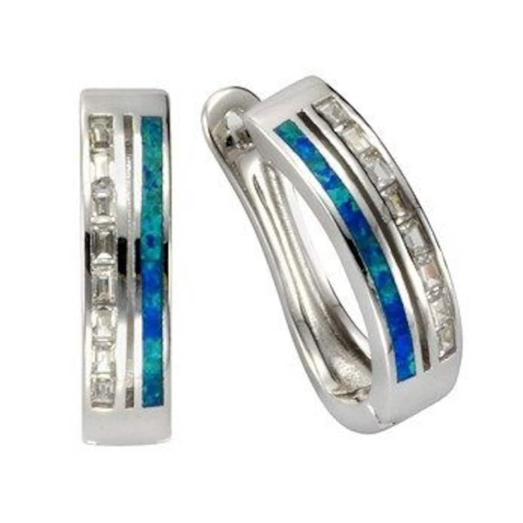 Vivance Paar Creolen »925/- Sterling Silber Opal & Zirkonia«, Creolen