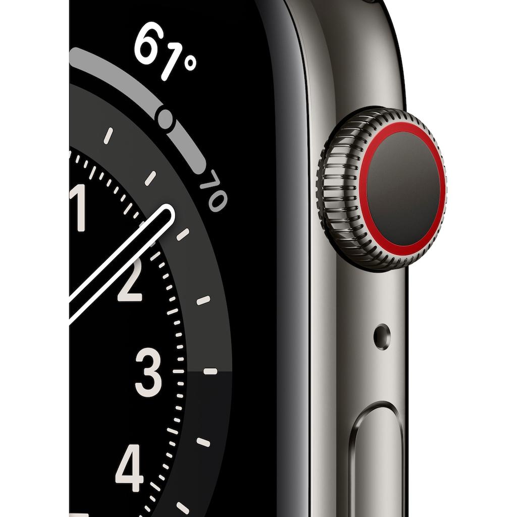 Apple Watch »Series 6 GPS + Cellular, Edelstahlgehäuse mit Sport Loop 44mm« (, Watch OS, inkl. Ladestation (magnetisches Ladekabel)
