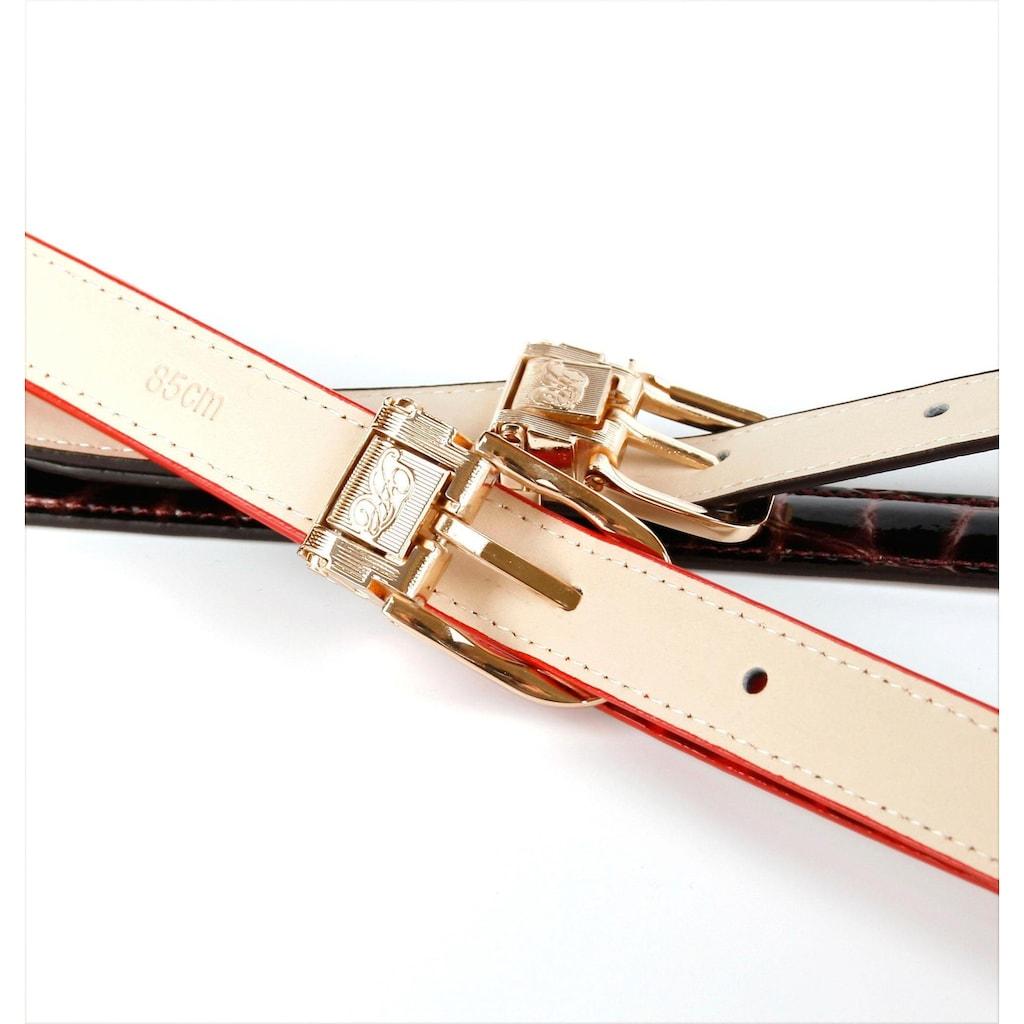 Anthoni Crown Ledergürtel, in schmaler Form aus Lackleder, schick und elegant