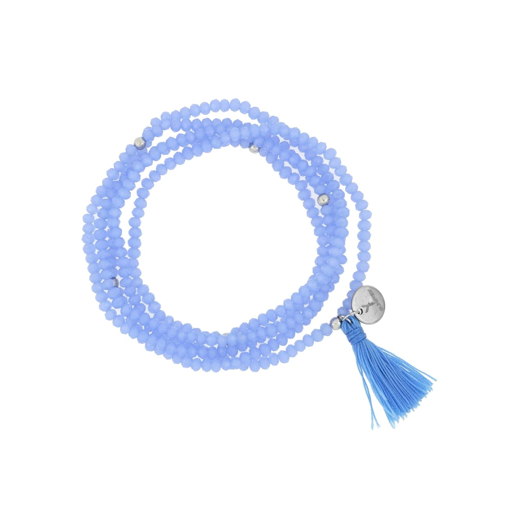 SURI FREY Armband »Glory blau«, Glasperlen blau mit Tassel blau & rhodinierten Messing-Kugeln