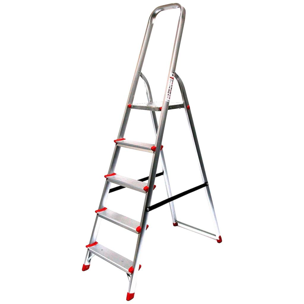 SZ METALL Stehleiter, Aluminium, 3,07 m, 5-stufig