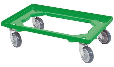 Transportroller, BxT: 60x40 cm, grün 4 Lenkrollen, graue Gummiräder kaufen