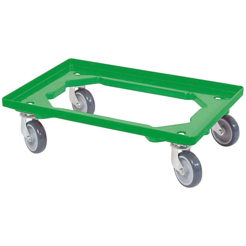 Transportroller, BxT: 60x40 cm, grün 4 Lenkrollen, graue Gummiräder