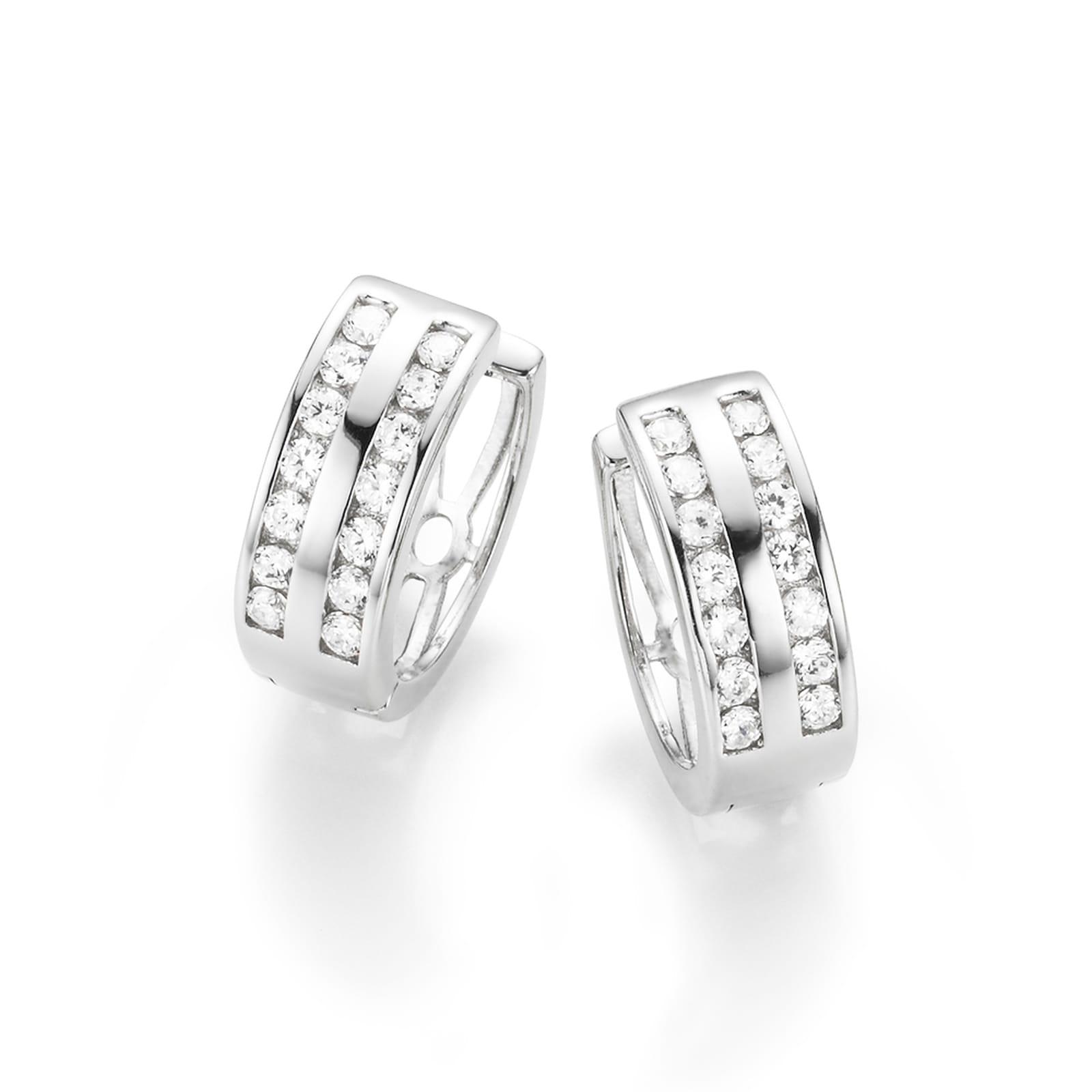 Smart Jewel Paar Creolen mit Zirkonia Steine in zweireihiger Optik, Silber