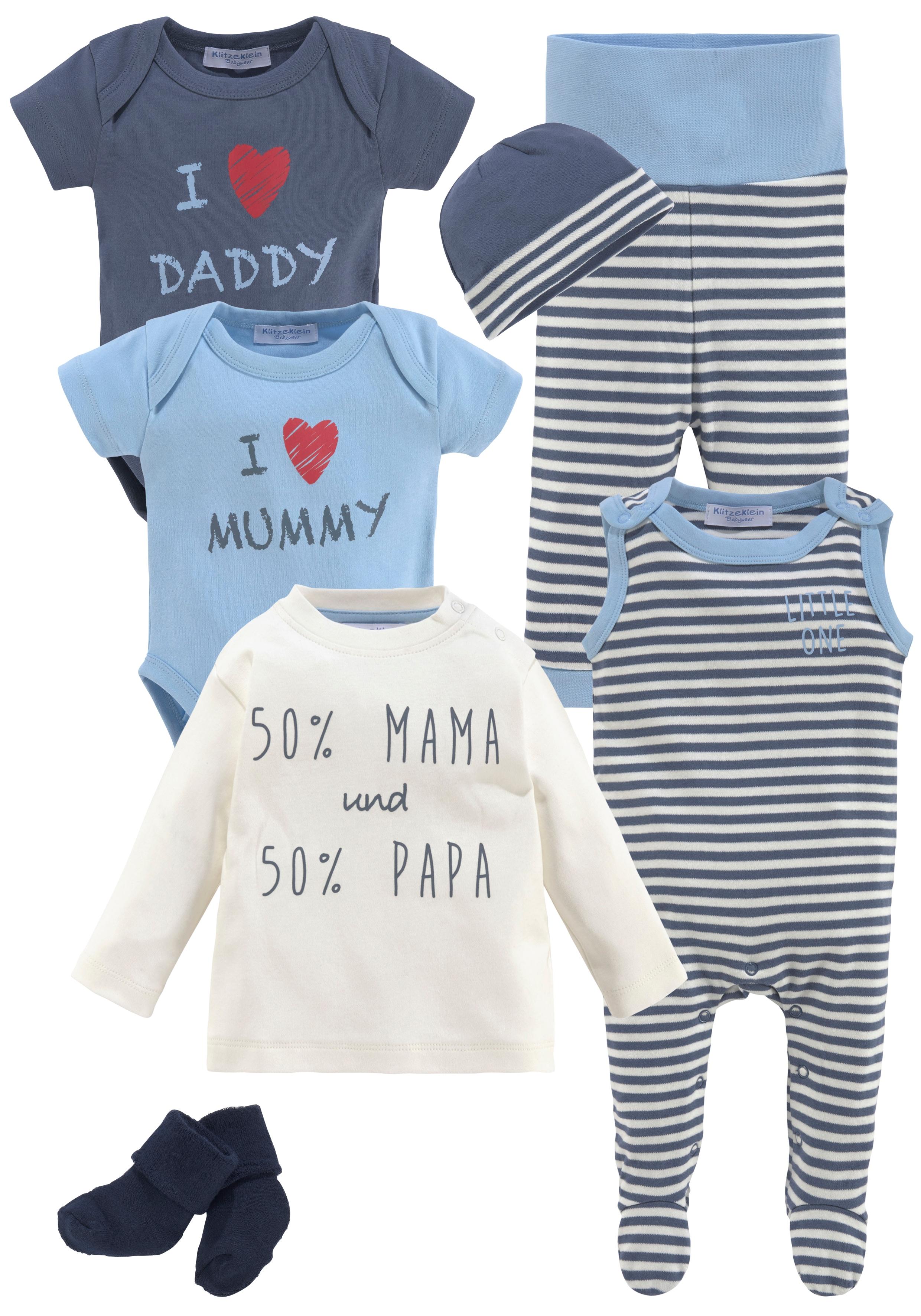 Klitzeklein Neugeborenen-Geschenkset, aus Bio-Baumwolle blau Baby Babykleidung Neugeborenen-Geschenkset