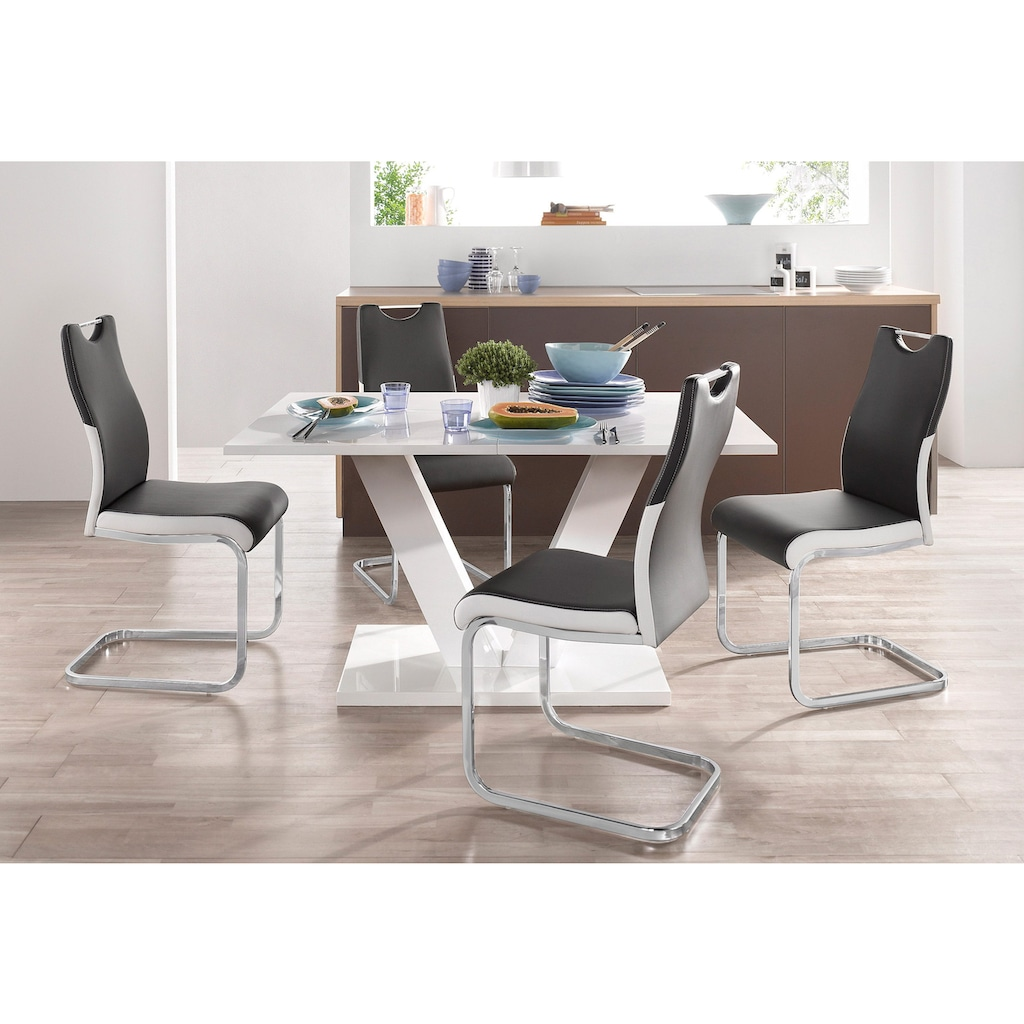 Esstisch »Andy«, mit Auszugsfunktion, 2 Breiten (140-180 cm oder 180-220 cm), weiß Hochglanz