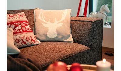 TOM TAILOR Dekokissen »Knitted Reindeerhead«, Gestrickte Kissenhülle mit Rentierkopf kaufen