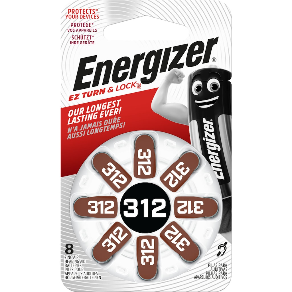 Energizer Batterie »Zinc-Air ENR EZ Turn & Lock (312) 8 Stück«