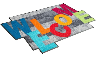 Teppich, »Crazy Welcome«, wash+dry by Kleen - Tex, rechteckig, Höhe 7 mm, gedruckt kaufen