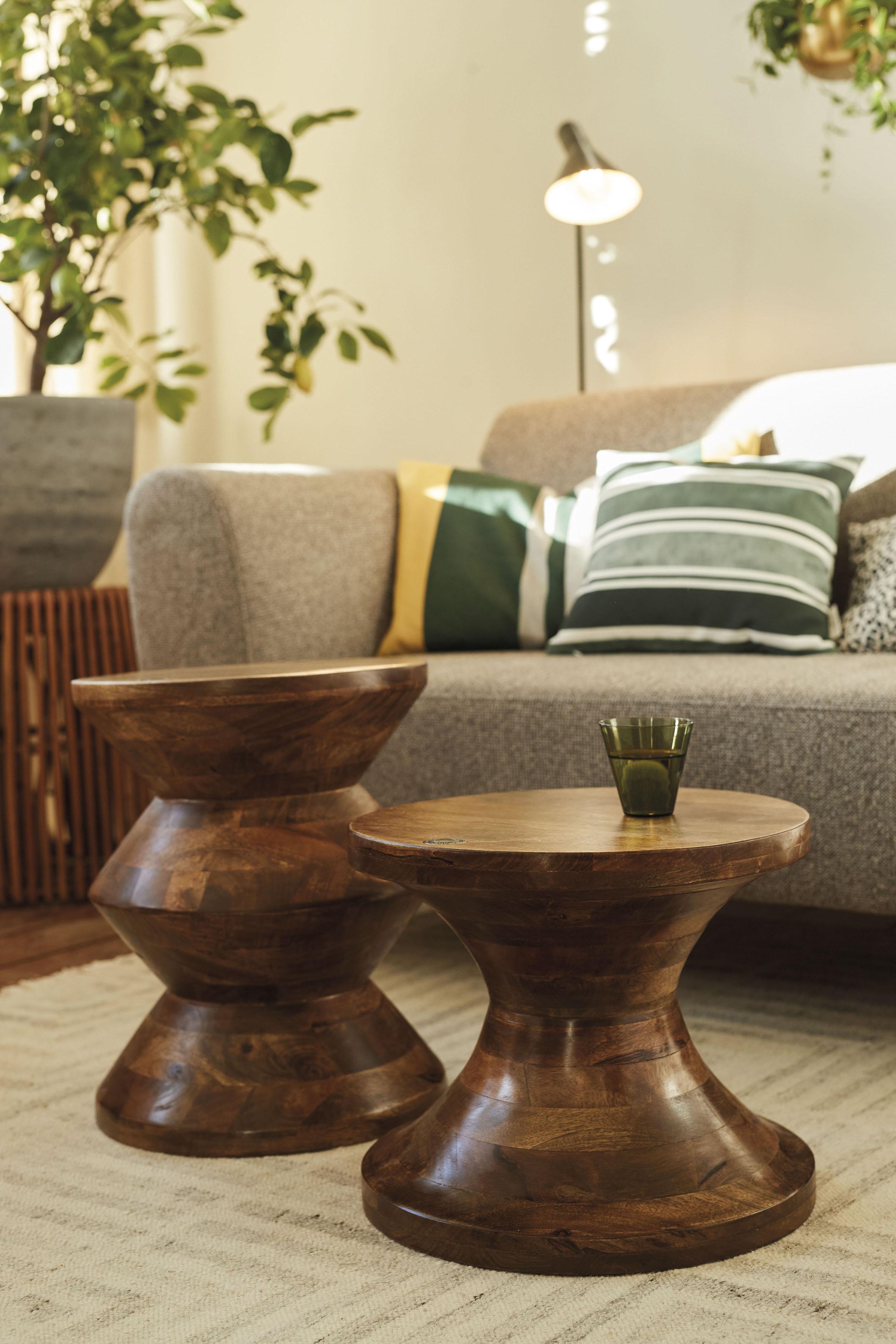 TOM TAILOR Hocker T-WOOD STOOL HIGH, dekorativer aus Mangoholz, mit Knopfdetail beige Beistelltische Tische