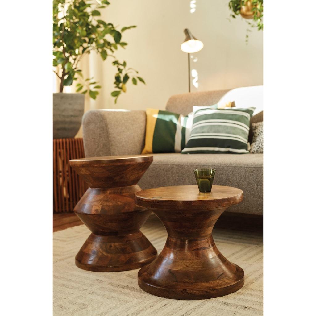 TOM TAILOR Hocker »T-WOOD STOOL HIGH«, dekorativer Hocker aus Mangoholz, mit Knopfdetail