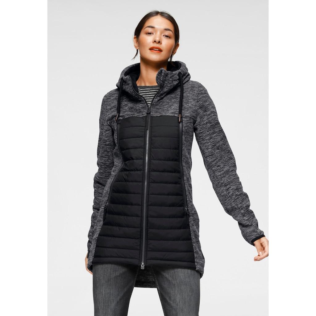 Alife & Kickin Outdoorjacke »CharliAK«, warme Longjacke im Fleece-Downlook-Style, Materialmix