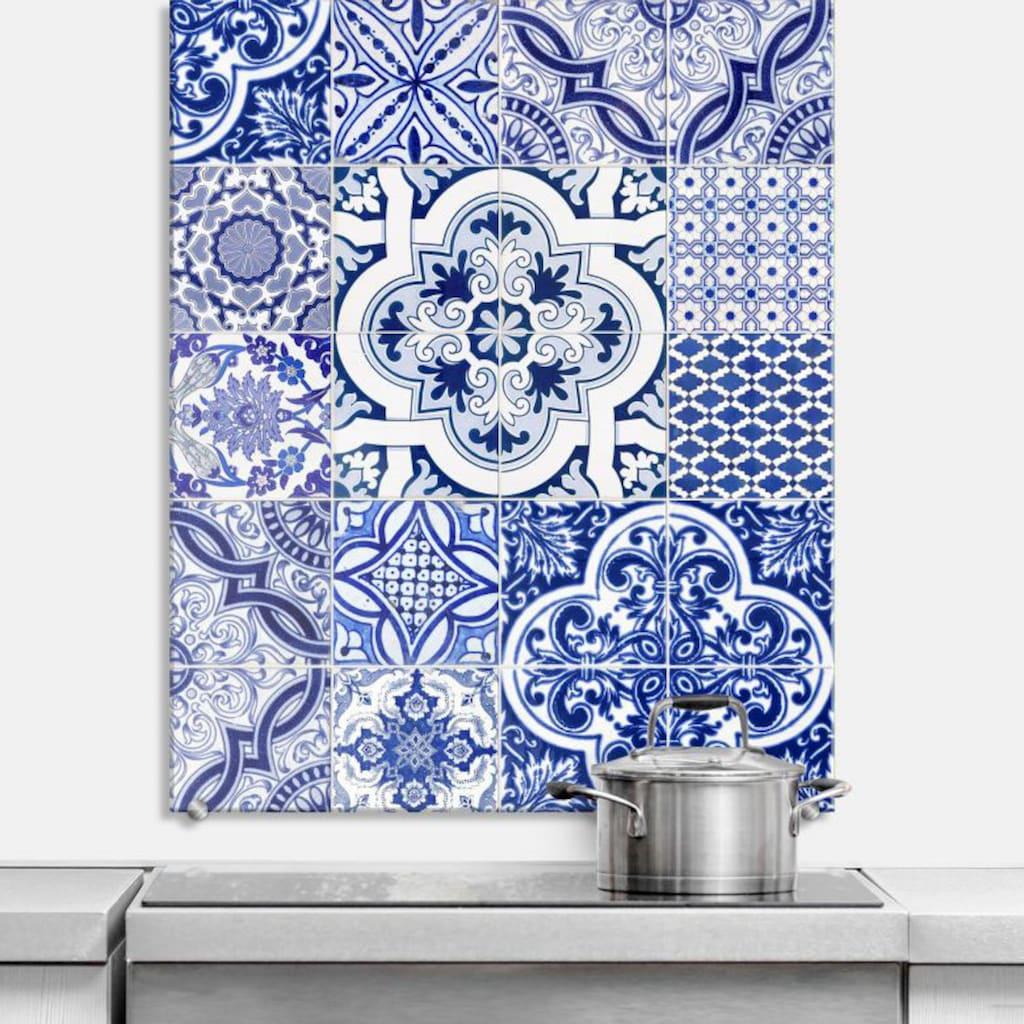 Wall-Art Herd-Abdeckplatte »Spritzschutz Küche Vintage Blau«, (1 tlg.)