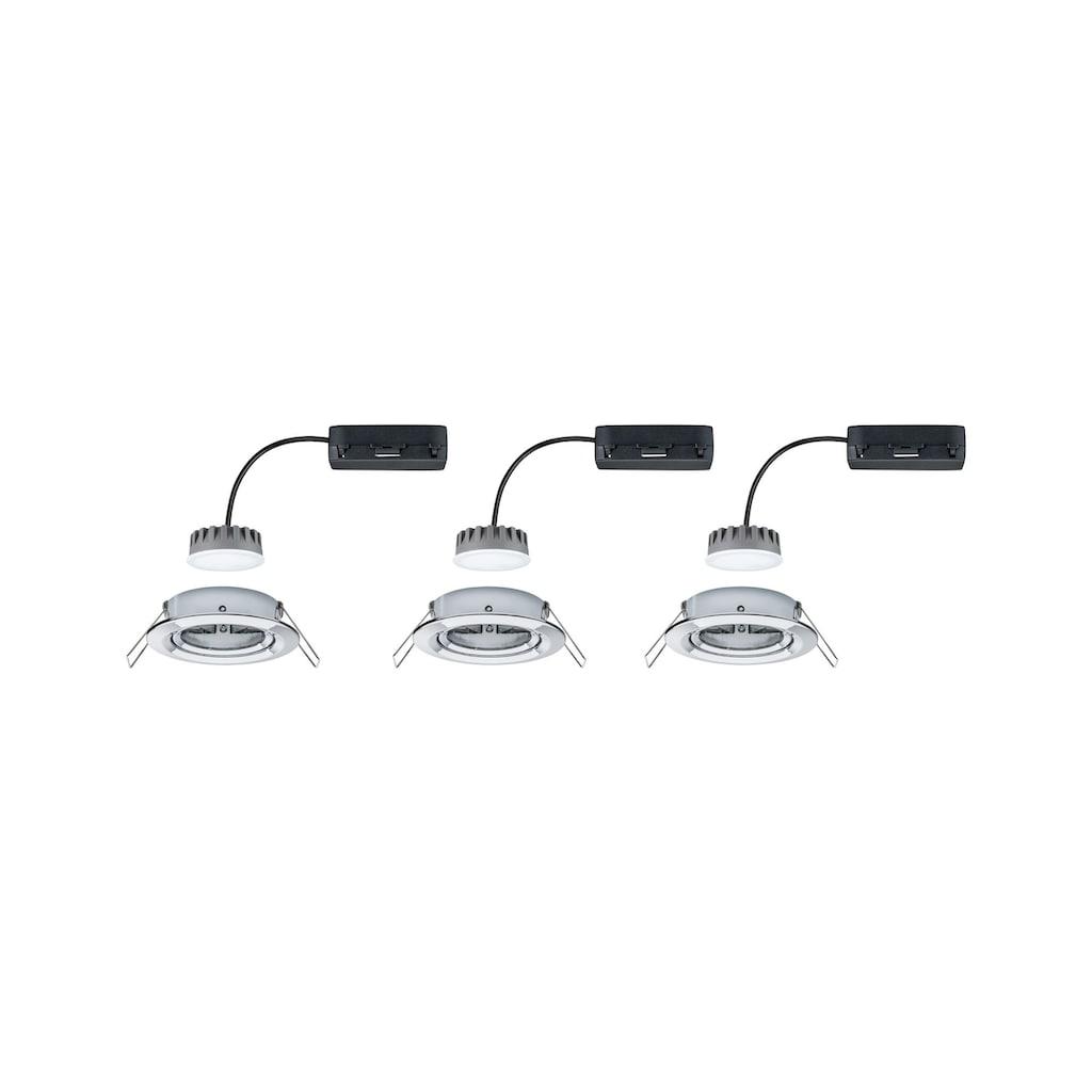 Paulmann LED Einbaustrahler »dimmbar IP23 rund Chrom Coin Slim 6,8W schwenkbar«, 3 St., Warmweiß